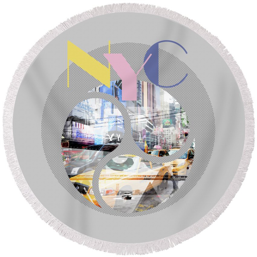 "LINK - PIXELS.COM - Round Beach Towel - ""Trendy Design New York City Geometric Mix No 1"""