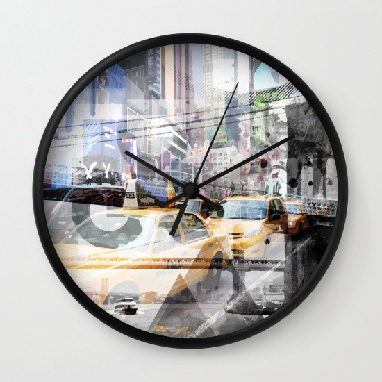 "Link SOCIETY6.COM Wanduhr / Wall Clock ""New York City 