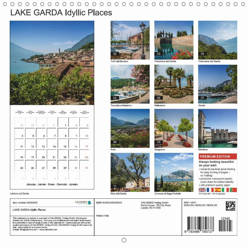 "CALENDAR (back) ""LAKE GARDA Idyllic Places"""