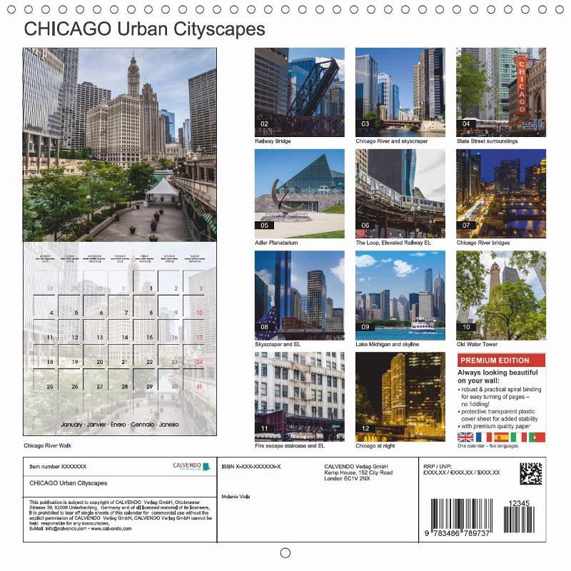 "CALENDAR (back) ""CHICAGO Urban Cityscapes"""