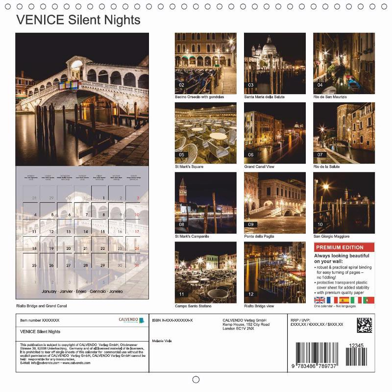 "CALENDAR (back) ""VENICE Silent Nights"""