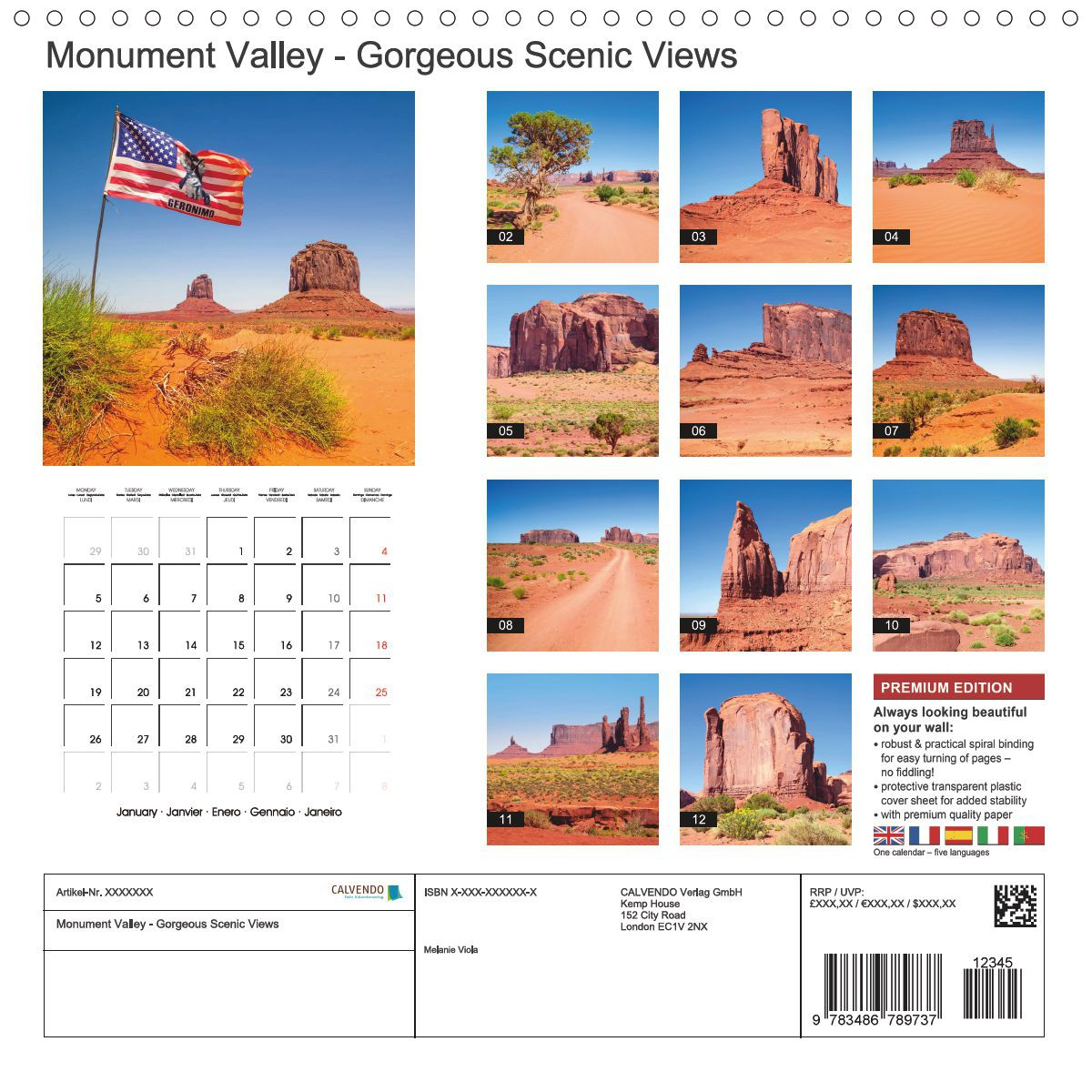 "CALENDAR (back) ""MONUMENT VALLEY Gorgeous Scenic Views"""