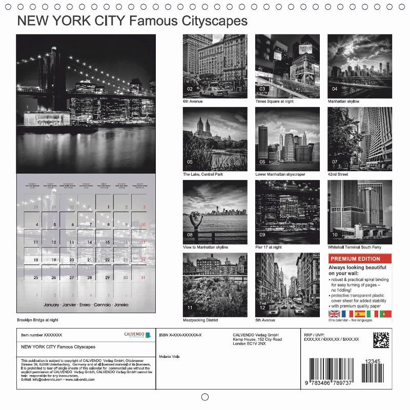 "CALENDAR (back) ""NEW YORK CITY Famous Cityscapes"""