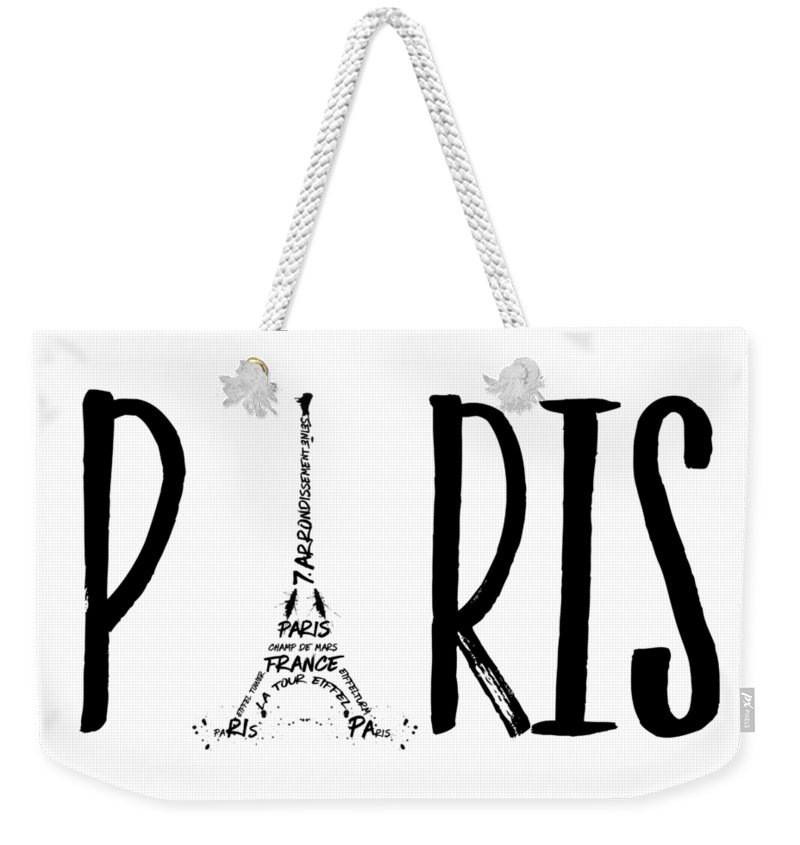 "LINK - PIXELS.COM Weekender Tote Bag ""Paris Typography"""