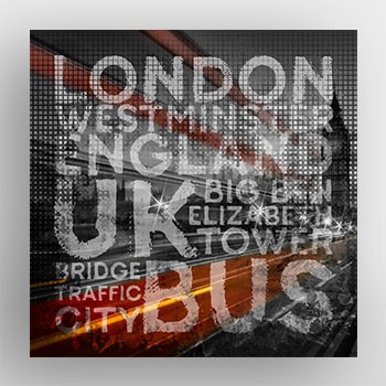 """Graphic Art LONDON Westminster Bridge Traffic"" - Alu-Print - LINK - artboxONE Onlineshop"