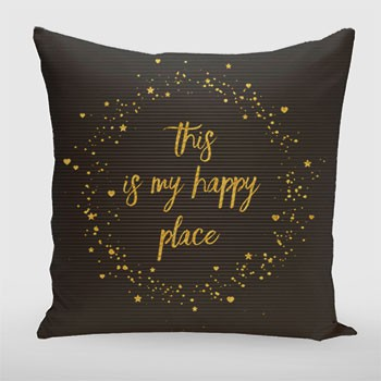 Text Art THIS IS MY HAPPY PLACE III | black with hearts, stars & splashes Kissen -- artboxONE Onlineshop
