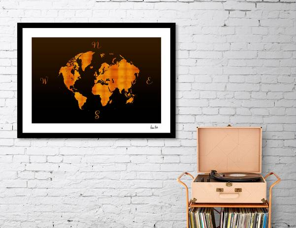 MODERN GRAPHIC ART World Map | Redgold - Link CURIOOS