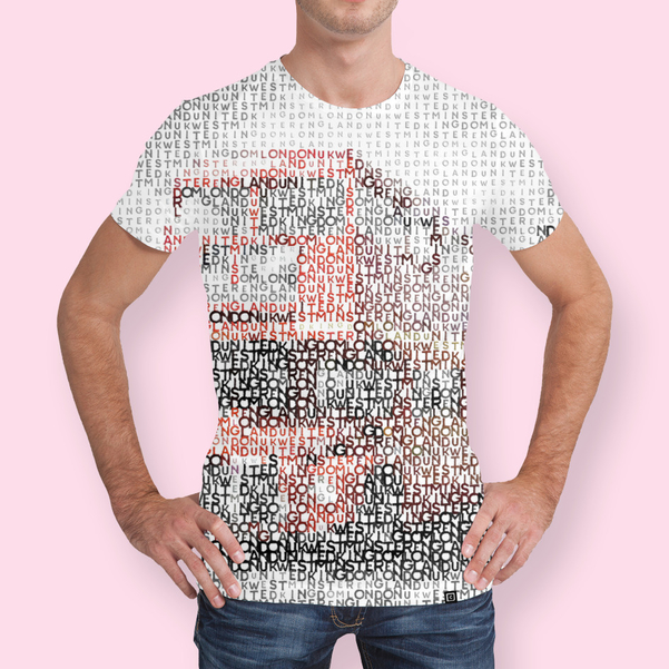 Link to CURIOOS - Men's All Over T-Shirt - Typographic Art | LONDON Westminster Bridge Buses