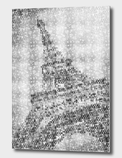 Link to CURIOOS - Aluminum Print - Typographic Art | PARIS Eiffel Tower | silver & hearts