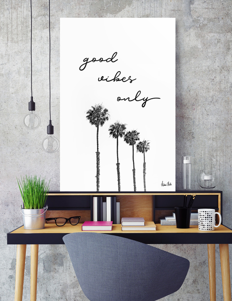 LINK - CURIOOS - Aluminum Print - GOOD VIBES ONLY Dreaming under palm trees