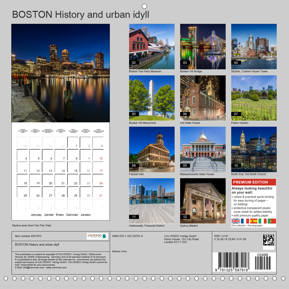 Calendar back - BOSTON History and urban idyll