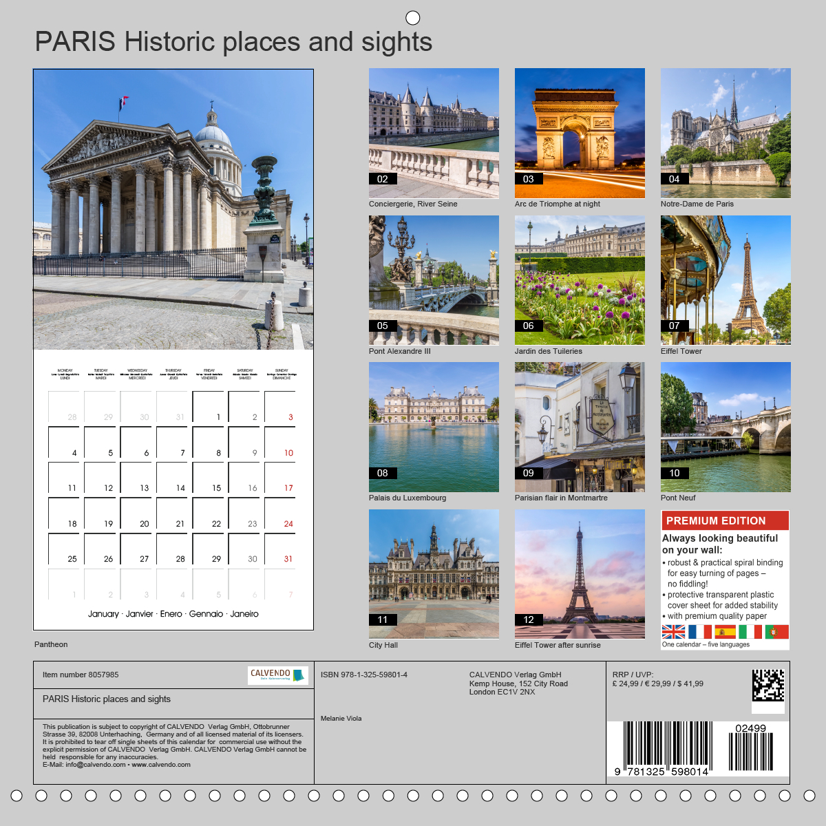 Calendar back - PARIS Historic places and sights