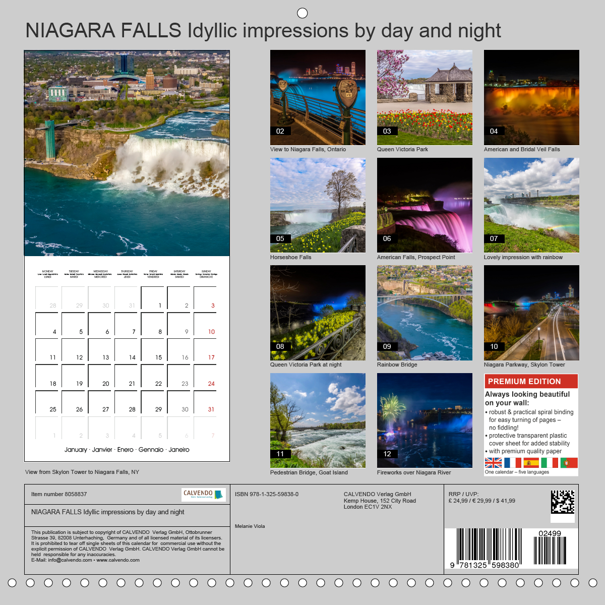 Calendar back - NIAGARA FALLS Idyllic impressions by day and night