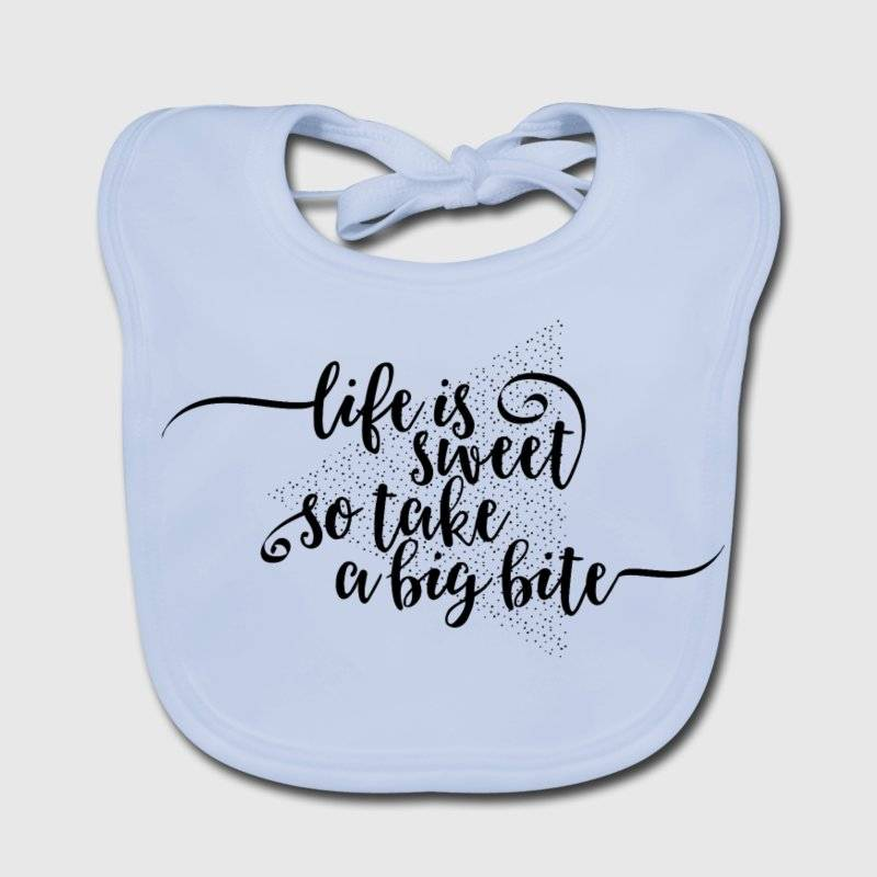 "LINK - SPREADSHIRT Baby Bio-Lätzchen - ""Life is sweet so take a big bite"""