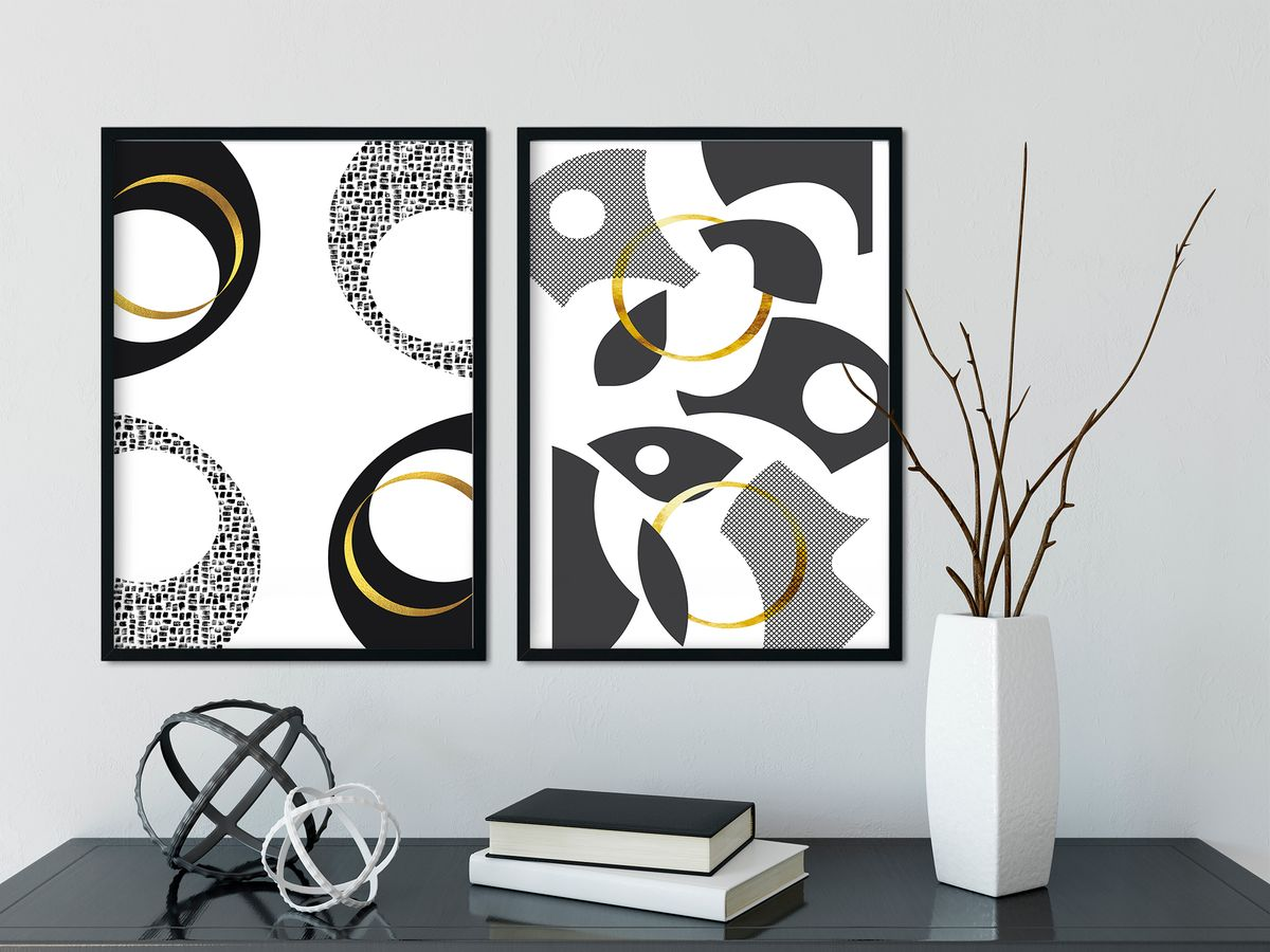 Black & White Abstract No. 7 | gold, Cut Out Abstract No. 1 | gold - LINK DISPLATE