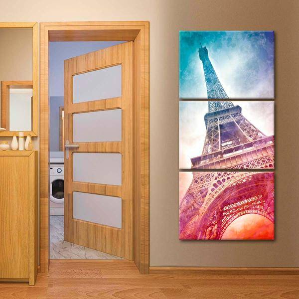 Vibrant Eiffel Tower Multi Panel Canvas Wall Art - LINK ElephantStock