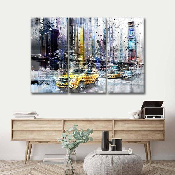 """NYC Collage"" Multi Panel Canvas Wall Art - LINK ElephantStock"