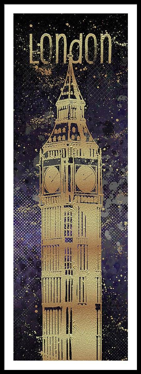 Link to Fine Art America - Graphic Art LONDON Big Ben - Ultraviolet and Golden