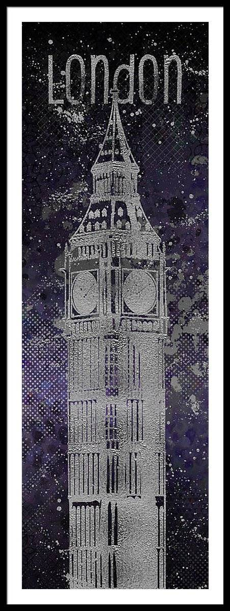 Link to Fine Art America - Graphic Art LONDON Big Ben - Ultraviolet and Silver