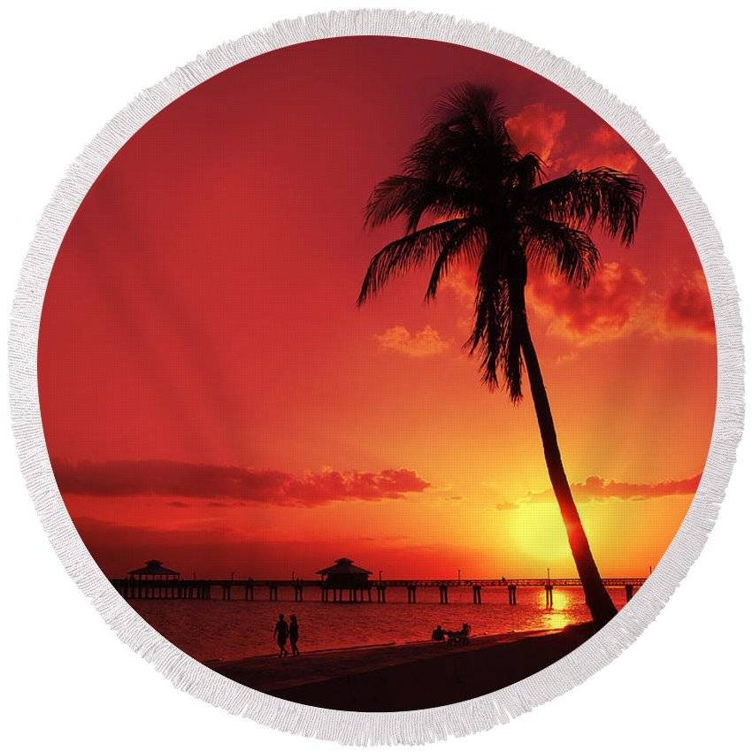 "LINK - PIXELS.COM - Round Beach Towel - ""Romantic Sunset"""