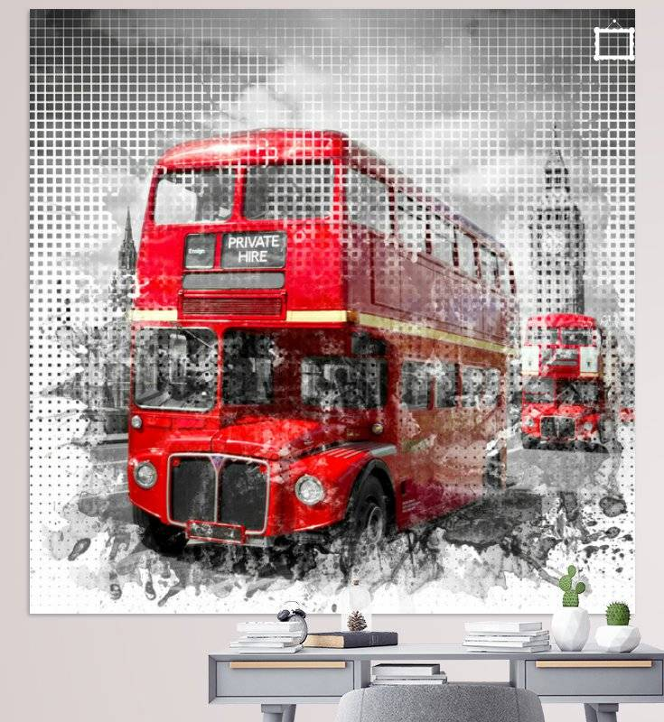 """Graphic Art LONDON WESTMINSTER Rote Busse"" - LINK - OhMyPrints Onlineshop"