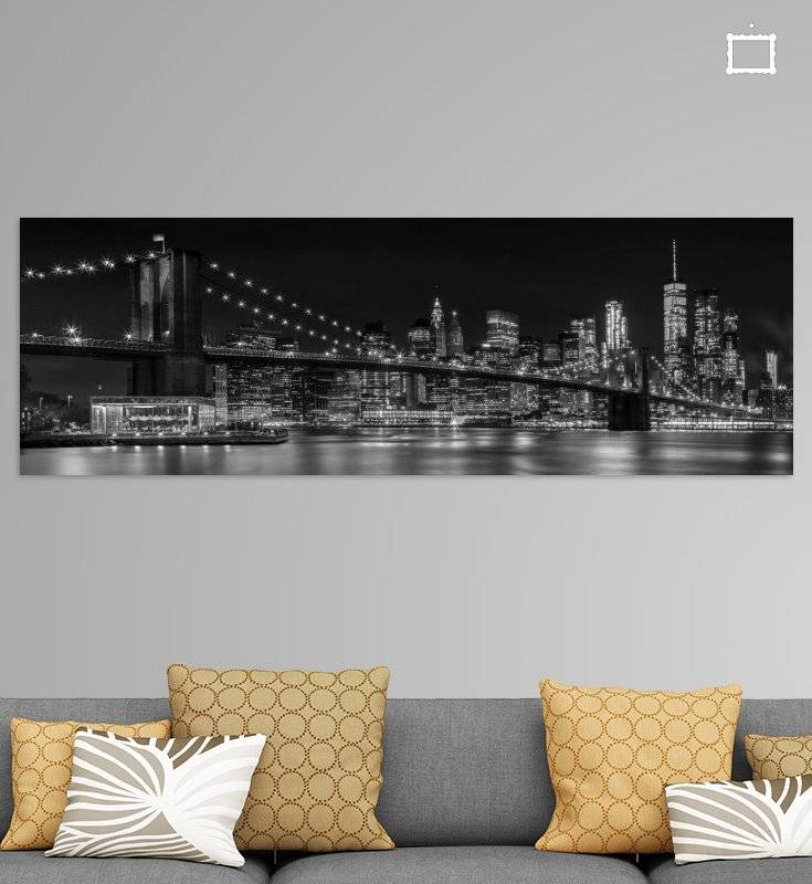 """MANHATTAN SKYLINE & BROOKLYN BRIDGE Impressionen bei Nacht"" - LINK - OhMyPrints Onlineshop"
