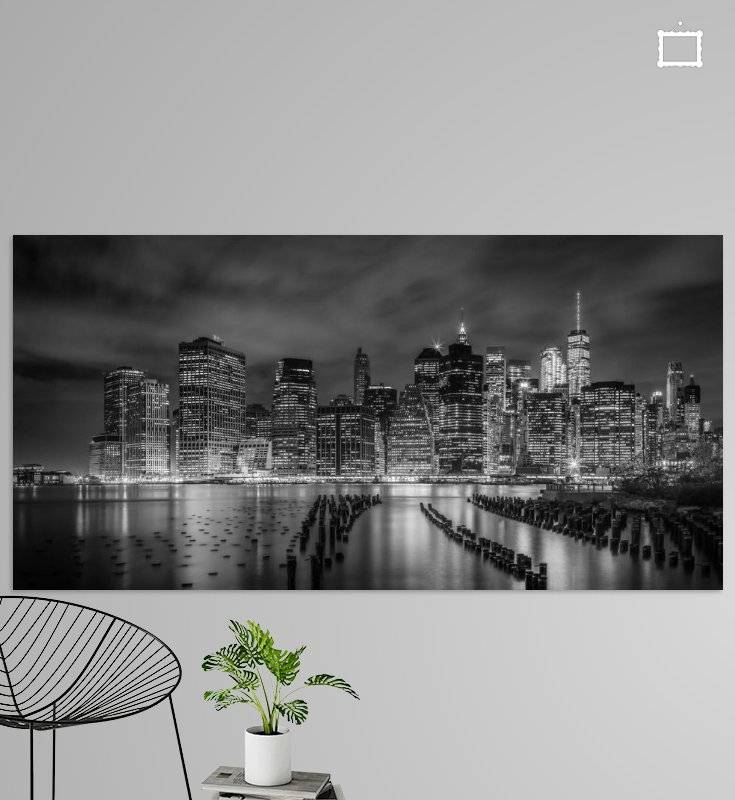 NEW YORK CITY Monochrome Impression bei Nacht | Panorama - OhMyPrints Onlineshop