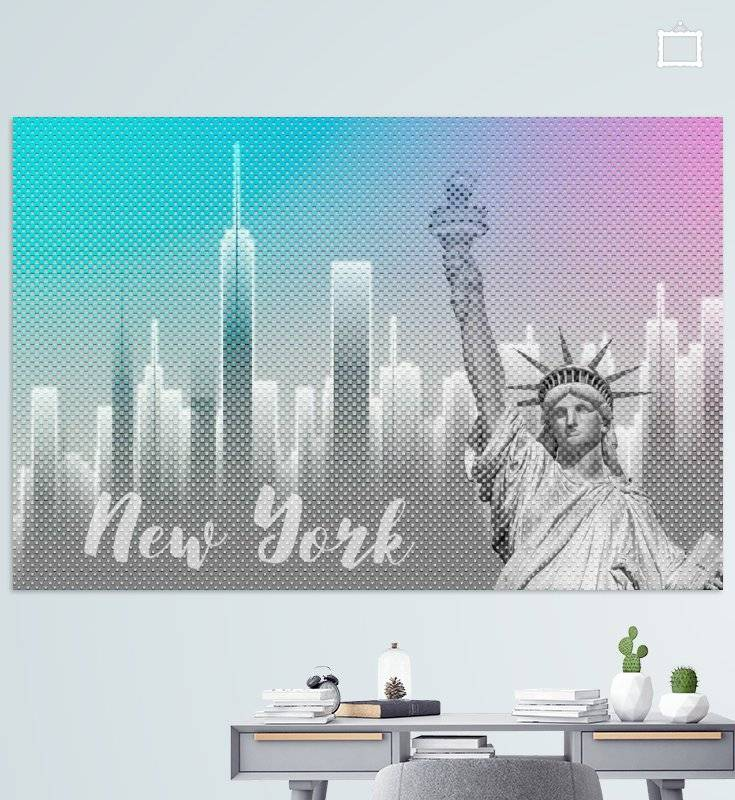 Graphic Art NEW YORK Mix No. 4 | funky cyan and pink - OhMyPrints Onlineshop