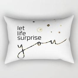 "Link SOCIETY6 Rectangular Pillow ""Text Art LET LIFE SURPRISE YOU"""