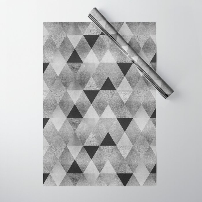 GRAPHIC PATTERN Funky geometric triangles | silver - LINK Society6