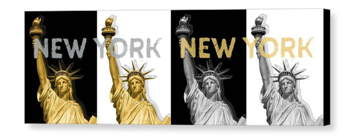 POP ART Statue Of Liberty | New York New York | Panoramic Golden Silver