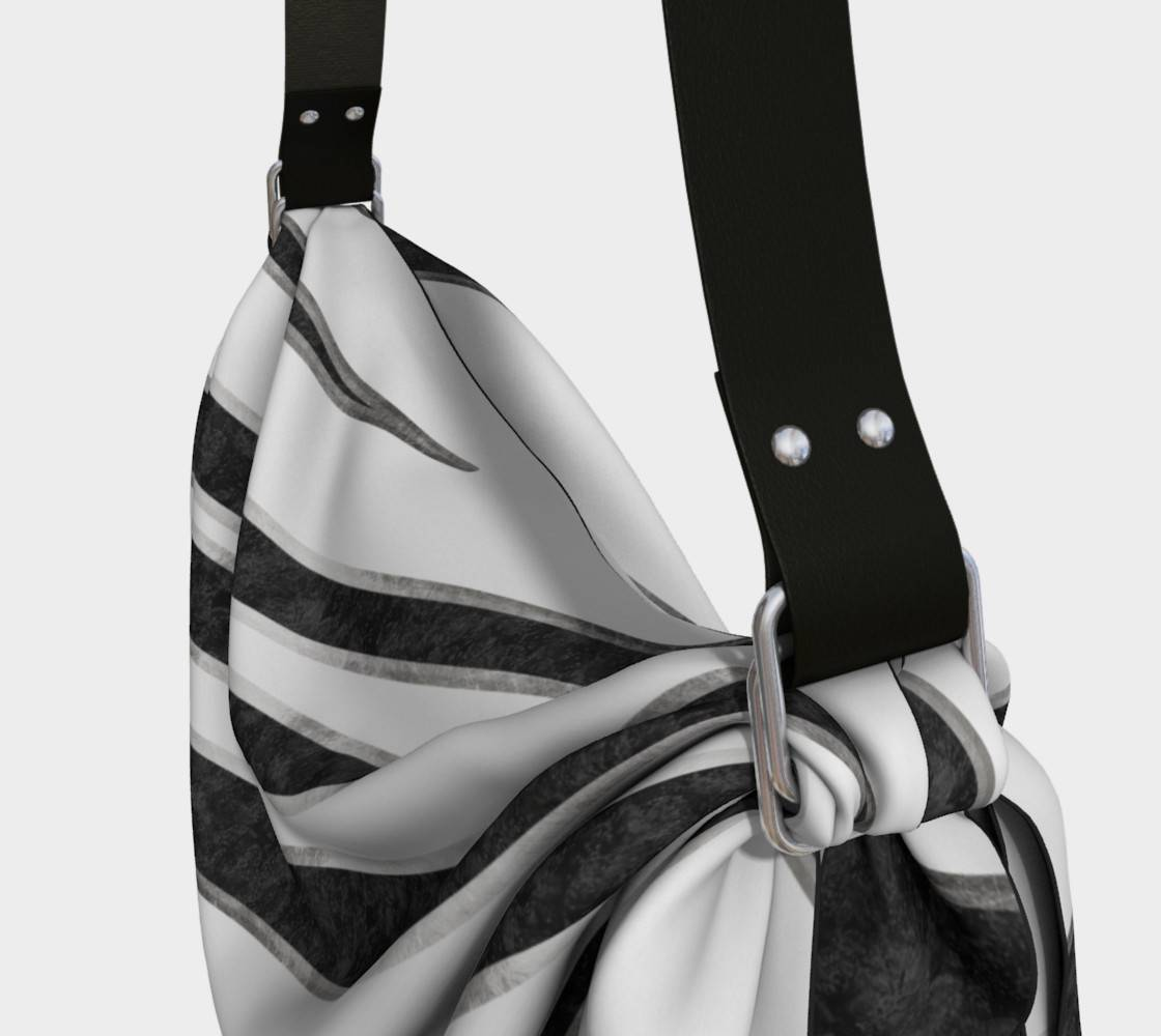 LINK - Origami Tote (Detail) HAPPY ABSTRACT | Zebra pattern | black-silver - ART OF WHERE