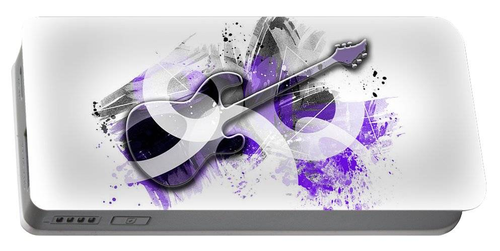"LINK - Pixels.com - Portable Battery Charger - ""Graphic Art GUITAR purple"""