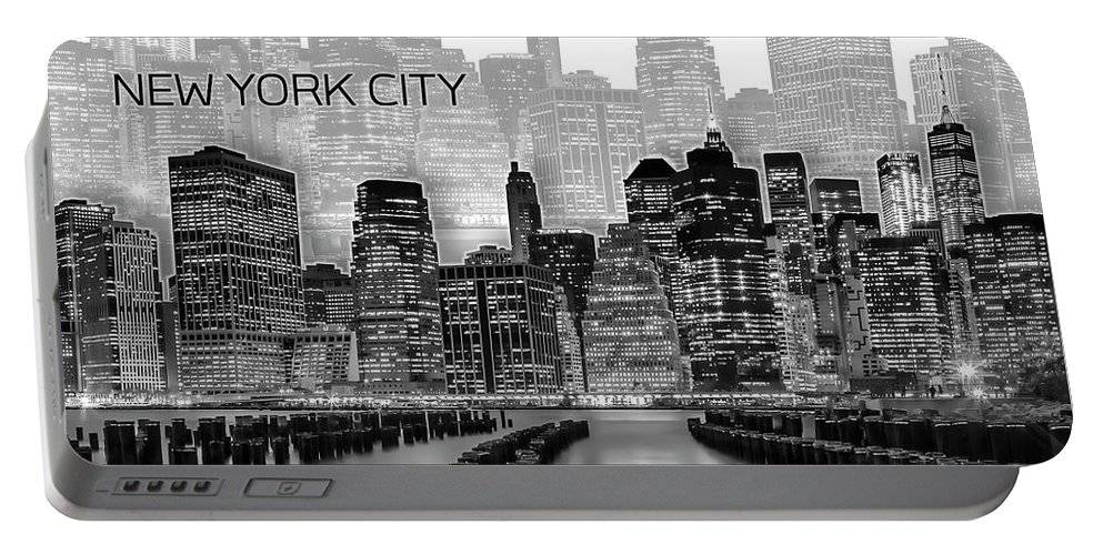 "KLICKEN ZUM VERGRÖßERN - Pixels.com - Portable Battery Charger - ""Manhattan Skyline Graphic art white"""