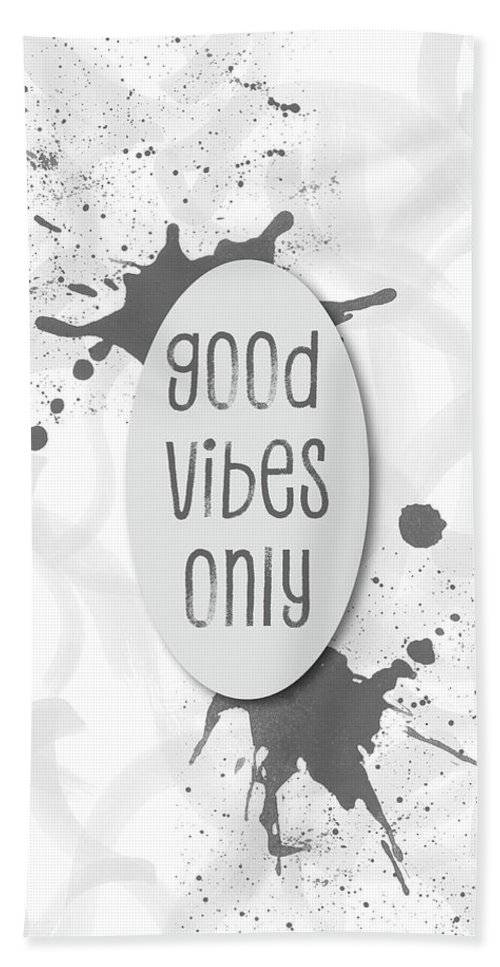"LINK - PIXELS.COM - Strandtuch / Beach Towel - ""Text Art GOOD VIBES ONLY - grey"""