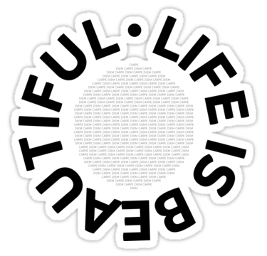 "LINK - Redbubble - Sticker - ""Text Art LIFE IS BEAUTIFUL - CARPE DIEM"""