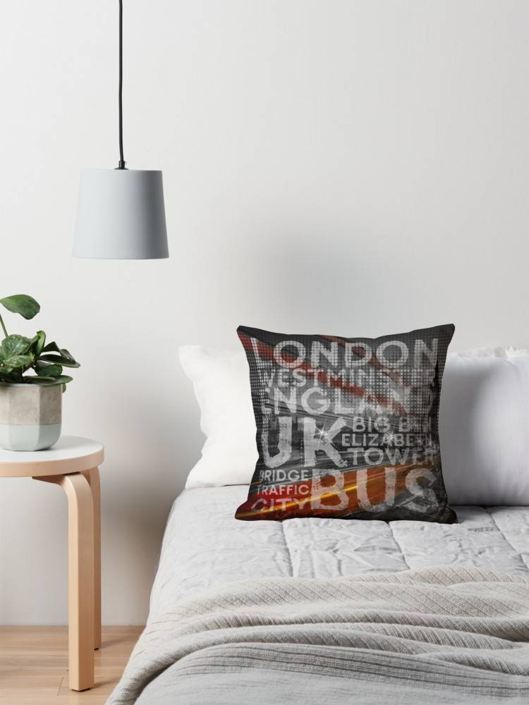"Link REDBUBBLE Pillow ""Graphic Art LONDON Westminster Bridge Traffic"""