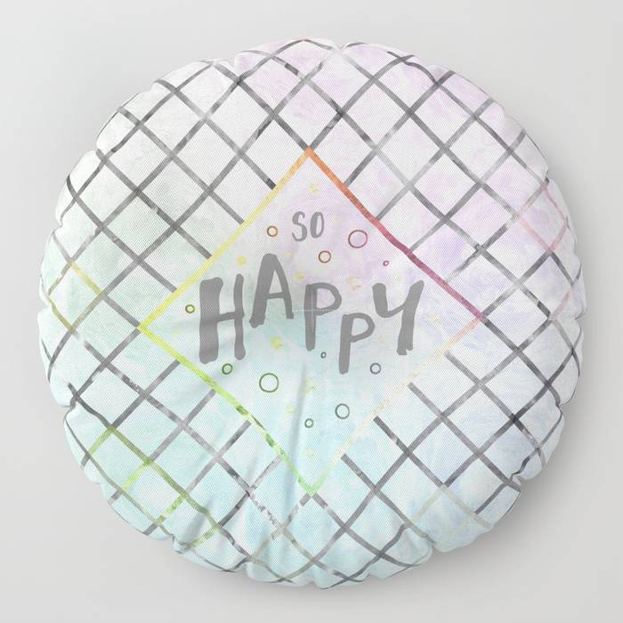 "Link SOCIETY 6 Floor Pillow ""Text Art SO HAPPY 