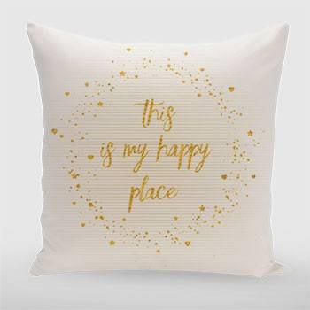 Text Art THIS IS MY HAPPY PLACE III | white with hearts, stars & splashes - Link zum artboxONE Onlineshop