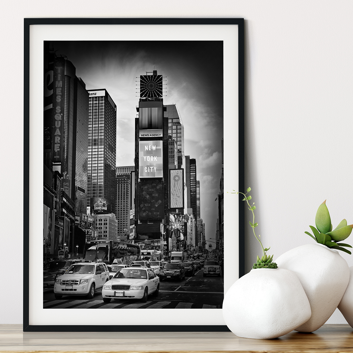 NEW YORK CITY Times Square | Monochrom - Gerahmtes Poster - LINK - artboxONE Onlineshop